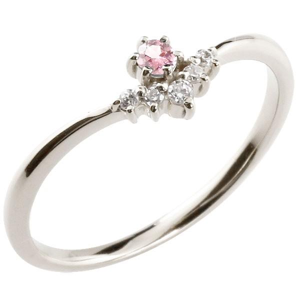 フラワー 花プラチナリング ピンクトルマリン ダイヤモンド ピンキーリング 指輪 華奢リング 重ね付け pt900 レディース 10月誕生石