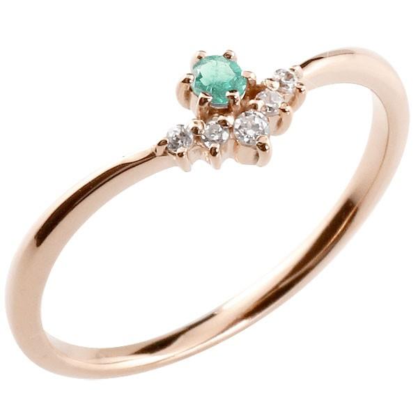 リング エメラルド ダイヤモンド ピンクゴールドk10 ピンキーリング 指輪 華奢リング 重ね付け 10金 レディース 5月誕生石