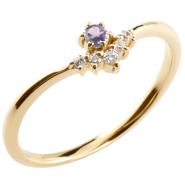リング アメジスト ダイヤモンド イエローゴールドk18 ピンキーリング 指輪 華奢リング 重ね付け 18金 レディース 2月誕生石