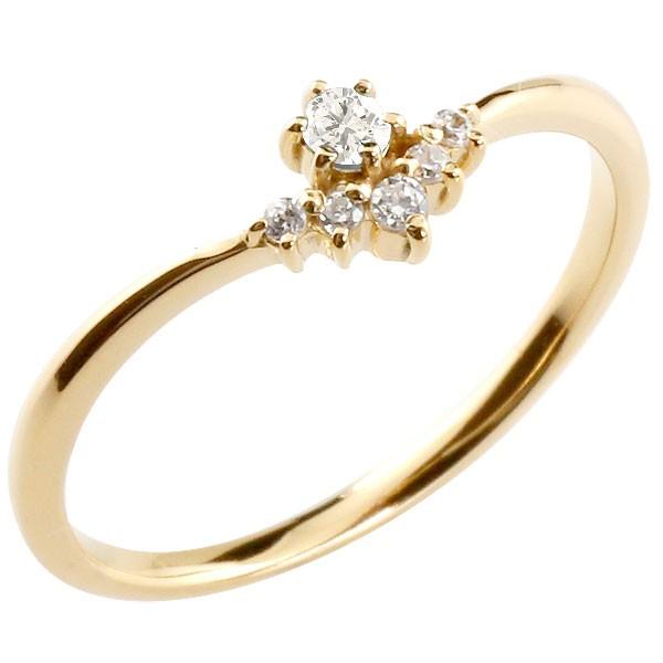 リング ダイヤモンド ダイヤモンド イエローゴールドk10 ピンキーリング 指輪 華奢リング 重ね付け 10金 レディース 4月誕生石