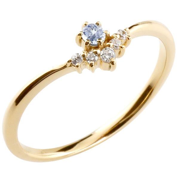 リング タンザナイト ダイヤモンド イエローゴールドk10 ピンキーリング 指輪 華奢リング 重ね付け 10金 レディース 12月誕生石