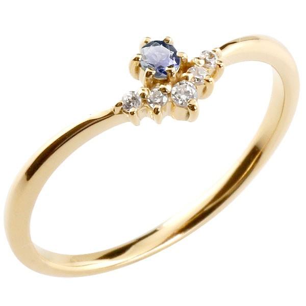 リング アイオライト ダイヤモンド イエローゴールドk10 ピンキーリング 指輪 華奢リング 重ね付け 10金 レディース