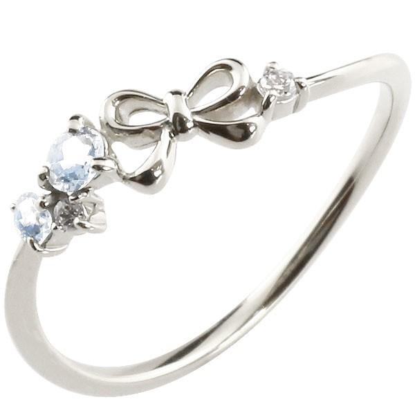 リボン プラチナリング ブルームーンストーン ダイヤモンド ピンキーリング 指輪 華奢リング 重ね付け pt900 レディース 6月誕生石