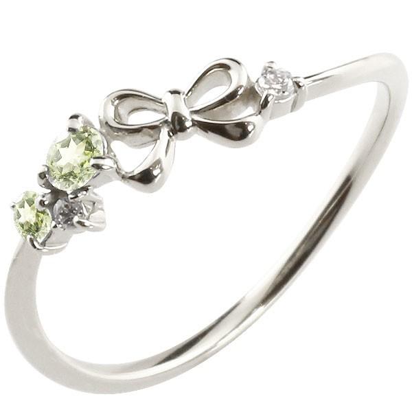 リボン プラチナリング ペリドット ダイヤモンド ピンキーリング 指輪 華奢リング 重ね付け pt900 レディース 8月誕生石
