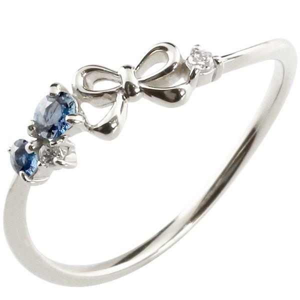 リボン リング サファイア ダイヤモンド ホワイトゴールドk18 ピンキーリング 指輪 華奢リング 重ね付け 18金 レディース 9月誕生石