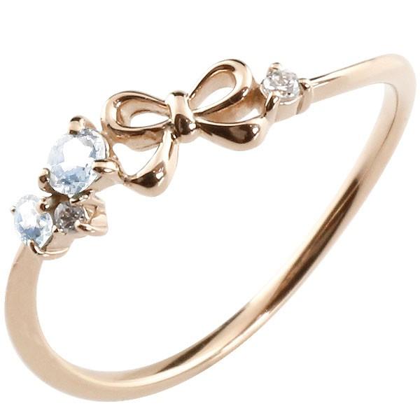 リボン リング ブルームーンストーン ダイヤモンド ピンクゴールドk18 ピンキーリング 指輪 華奢リング 重ね付け 18金 レディース 6月誕生石