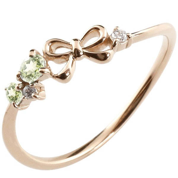 リボン リング ペリドット ダイヤモンド ピンクゴールドk18 ピンキーリング 指輪 華奢リング 重ね付け 18金 レディース 8月誕生石