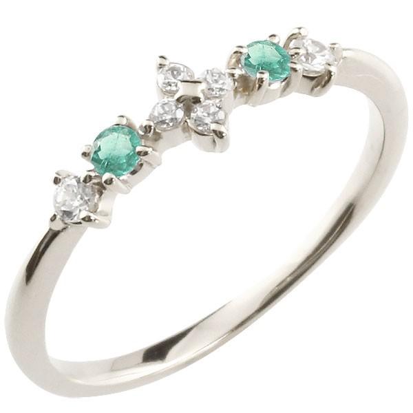 フラワー 花プラチナリング エメラルド ダイヤモンド ピンキーリング 指輪 華奢リング 重ね付け pt900 レディース 5月誕生石