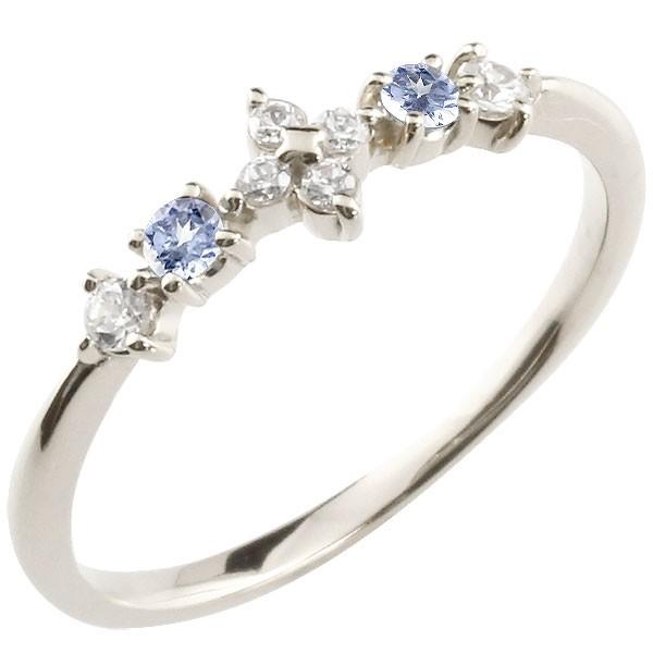 フラワー 花プラチナリング タンザナイト ダイヤモンド ピンキーリング 指輪 華奢リング 重ね付け pt900 レディース 12月誕生石