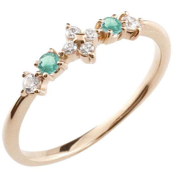 フラワー 花リング エメラルド ダイヤモンド ピンクゴールドk18 ピンキーリング 指輪 華奢リング 重ね付け 18金 レディース 5月誕生石