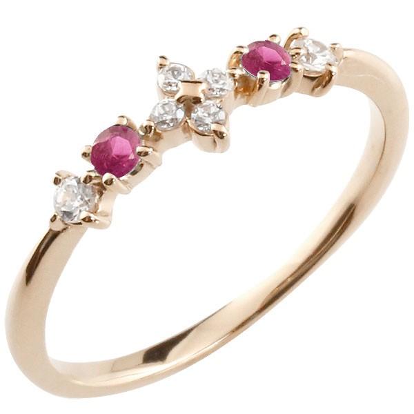 フラワー 花リング ルビー ダイヤモンド ピンクゴールドk18 ピンキーリング 指輪 華奢リング 重ね付け 18金 レディース 7月誕生石