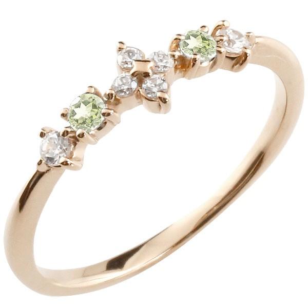 フラワー 花リング ペリドット ダイヤモンド ピンクゴールドk10 ピンキーリング 指輪 華奢リング 重ね付け 10金 レディース 8月誕生石