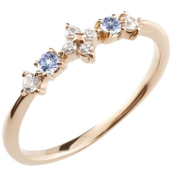 フラワー 花リング タンザナイト ダイヤモンド ピンクゴールドk18 ピンキーリング 指輪 華奢リング 重ね付け 18金 レディース 12月誕生石
