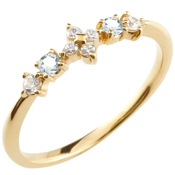 フラワー 花リング アクアマリン ダイヤモンド イエローゴールドk10 ピンキーリング 指輪 華奢リング 重ね付け 10金 レディース 3月誕生石