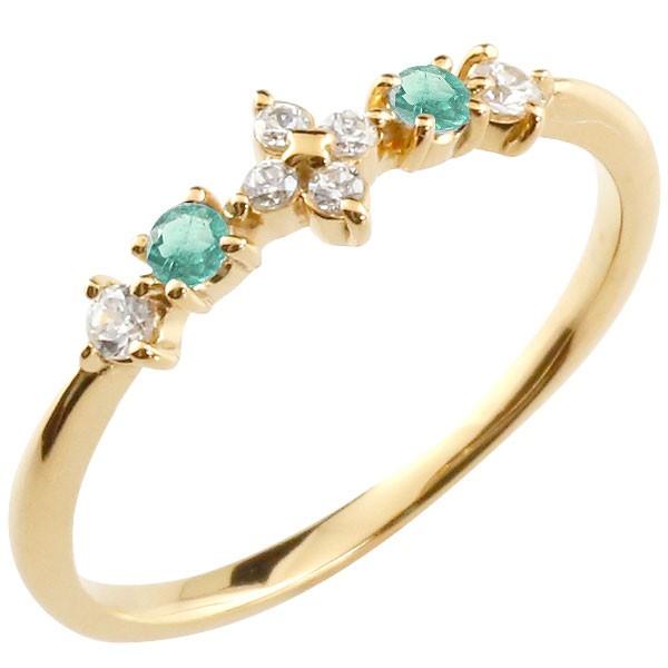 フラワー 花リング エメラルド ダイヤモンド イエローゴールドk18 ピンキーリング 指輪 華奢リング 重ね付け 18金 レディース 5月誕生石
