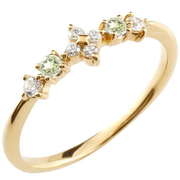 フラワー 花リング ペリドット ダイヤモンド イエローゴールドk18 ピンキーリング 指輪 華奢リング 重ね付け 18金 レディース 8月誕生石