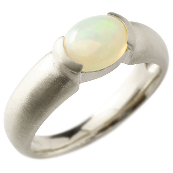 エンゲージリング ホワイトゴールドk10 大粒 一粒 オパール リング ピンキーリング 指輪 10金 指輪