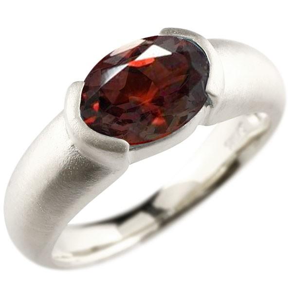 エンゲージリング ホワイトゴールドk18 大粒 一粒 ガーネット リング ピンキーリング 指輪 18金 指輪