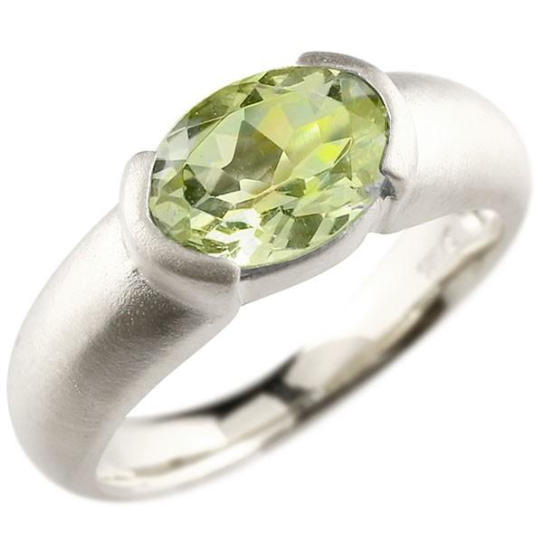 エンゲージリング ホワイトゴールドk18 大粒 一粒 ペリドット リング ピンキーリング 指輪 18金 指輪