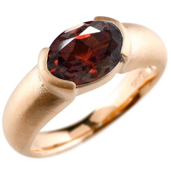 エンゲージリング ピンクゴールドk18 大粒 一粒 ガーネット リング ピンキーリング 指輪 18金 指輪