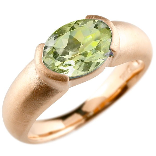エンゲージリング ピンクゴールドk18 大粒 一粒 ペリドット リング ピンキーリング 指輪 18金 指輪