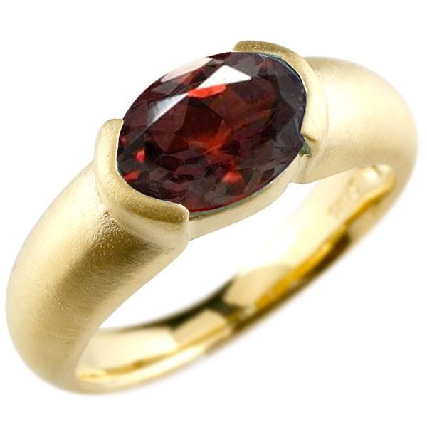 エンゲージリング イエローゴールドk10 大粒 一粒 ガーネット リング ピンキーリング 指輪 10金 指輪