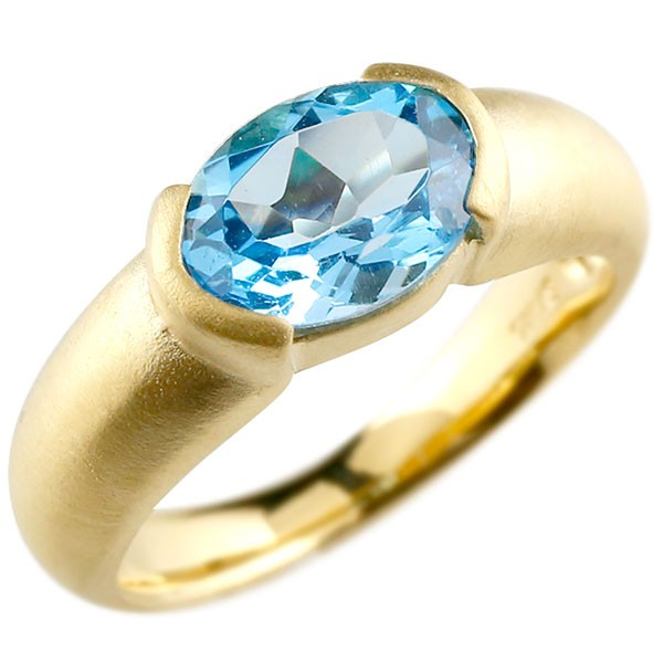 エンゲージリング イエローゴールドk18 大粒 一粒 ブルートパーズ リング ピンキーリング 指輪 18金 指輪