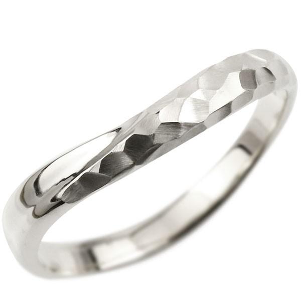 指輪 リング ホワイトゴールドk10 婚約指輪 ピンキーリング 槌目 槌打ち 10金 k10  ロック仕上げ 地金 緩やかなV字