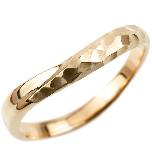 指輪 リング ピンクゴールドk18 婚約指輪 ピンキーリング 槌目 槌打ち 18金 k18  ロック仕上げ 地金 緩やかなV字