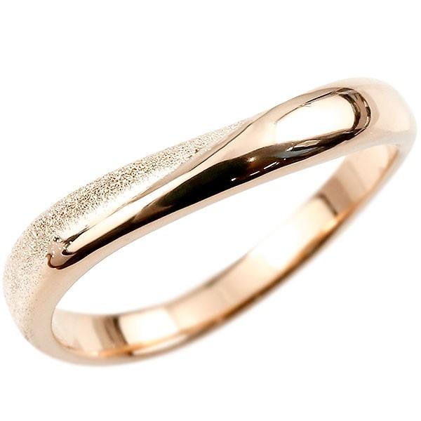 指輪 リング ピンクゴールドk18 婚約指輪 ピンキーリング 18金 k18  スターダスト仕上げ 地金 緩やかなV字