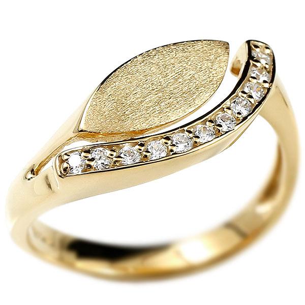 婚約指輪 ダイヤモンドリング イエローゴールドk18 エンゲージリング ピンキーリング リング 指輪 ウェーブリング 18金 18k レディース 緩やかなV字