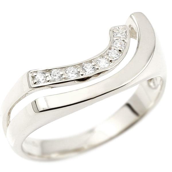 婚約指輪 ホワイトゴールドk10 エンゲージリング ピンキーリング キュービックジルコニア リング 指輪 ウェーブリング 10金 10k レディース 緩やかなV字