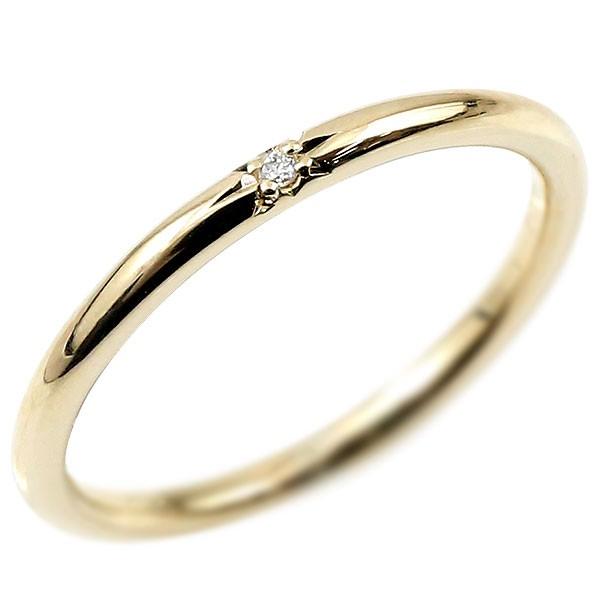 ピンキーリング イエローゴールドk10 10金 極細 華奢 指輪