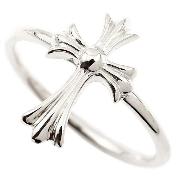 リング クロス ホワイトゴールドk10 指輪 十字架 地金 ピンキーリング 10金 レディース 人気