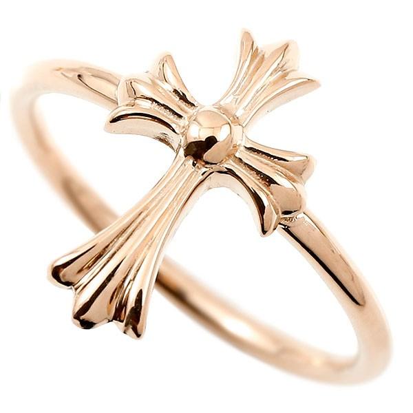 リング クロス ピンクゴールドk18 指輪 十字架 地金 ピンキーリング 18金 レディース 人気