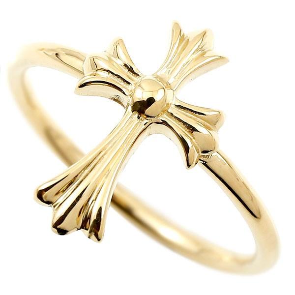 リング クロス イエローゴールドk10 指輪 十字架 地金 ピンキーリング 10金 レディース 人気