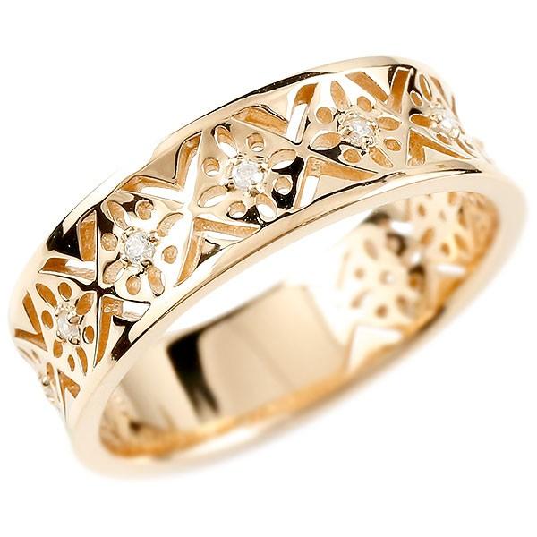 婚約指輪 リング ピンクゴールドk10 ダイヤモンド ピンキーリング ダイヤ 指輪 透かし エンゲージリング 宝石 レディース