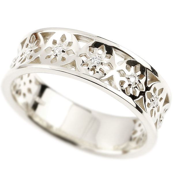 婚約指輪 プラチナリング ダイヤモンド ピンキーリング ダイヤ 指輪 透かし エンゲージリング pt950 宝石 レディース