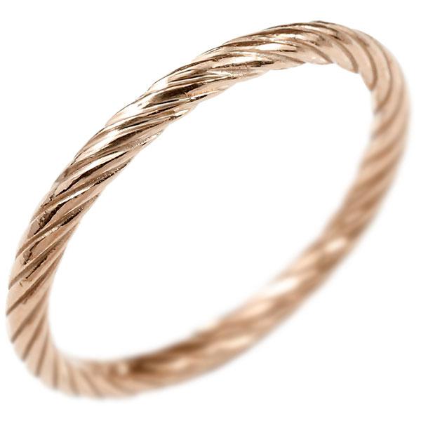 リング ピンクゴールドk10 指輪 エンドレスロープ 指輪 ストレート 地金 ピンキーリング 重ね付け リング レディース