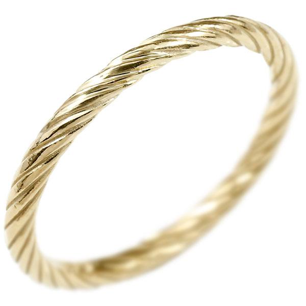 リング イエローゴールドk18 指輪 エンドレスロープ 指輪 ストレート 地金 ピンキーリング 重ね付け リング レディース