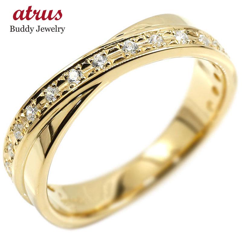 リング イエローゴールドk10 キュービックジルコニア 婚約指輪 ピンキーリング エンゲージリング