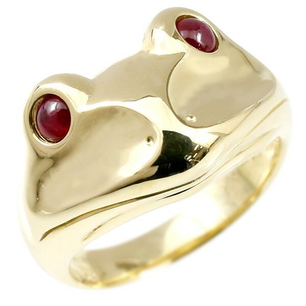 リング ルビー カエル イエローゴールドk18 エンゲージリング 幅広 指輪 ピンキーリング 婚約指輪 18金 宝石 蛙 レディース