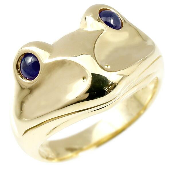 リング サファイア カエル イエローゴールドk18 エンゲージリング 幅広 指輪 ピンキーリング 婚約指輪 18金 宝石 蛙 レディース