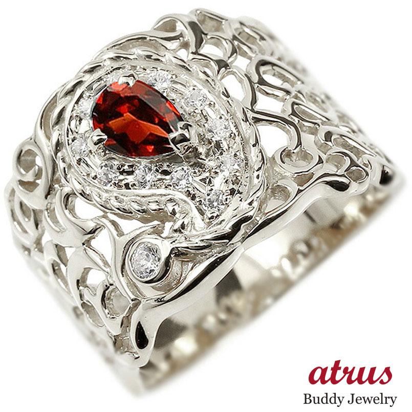 リング ホワイトゴールドk10 ペイズリー ダイヤモンド ガーネット 婚約指輪 ピンキーリング ダイヤ 指輪 透かし 幅広 エンゲージリング レディース