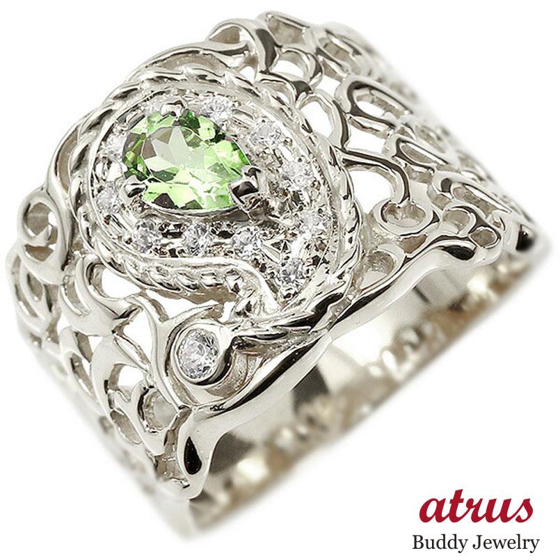 リング ホワイトゴールドk10 ペイズリー ダイヤモンド ペリドット 婚約指輪 ピンキーリング ダイヤ 指輪 透かし 幅広 エンゲージリング レディース