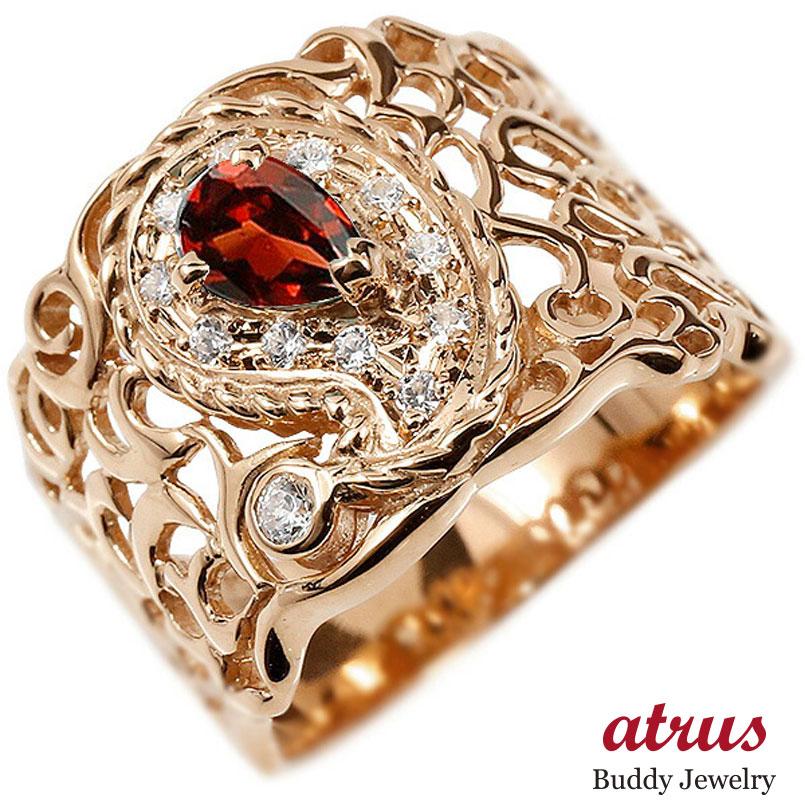 リング ピンクゴールドk18 ペイズリー ダイヤモンド ガーネット 婚約指輪 ピンキーリング ダイヤ 指輪 透かし 幅広 エンゲージリング レディース