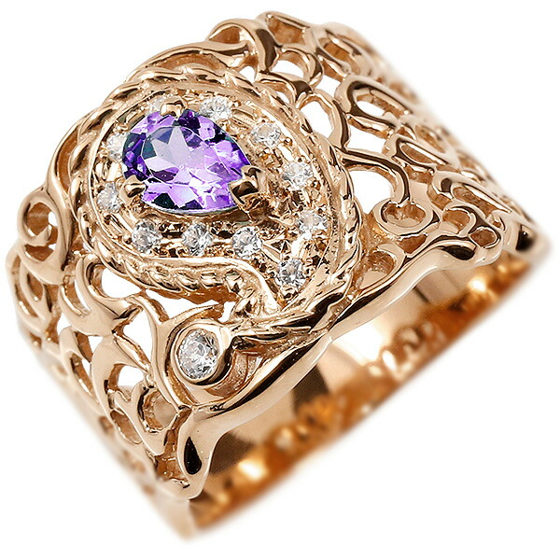 リング ピンクゴールドk10 ペイズリー キュービックジルコニア アメジスト 婚約指輪 ピンキーリング 指輪 透かし 幅広 エンゲージリング レディース