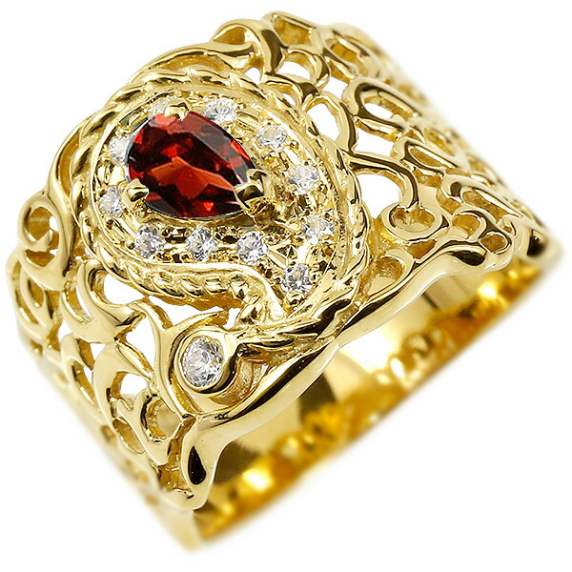 リング イエローゴールドk18 ペイズリー ダイヤモンド ガーネット 婚約指輪 ピンキーリング ダイヤ 指輪 透かし 幅広 エンゲージリング レディース
