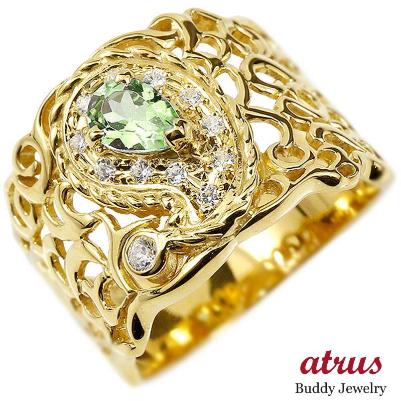 リング イエローゴールドk10 ペイズリー キュービックジルコニア ペリドット 婚約指輪 ピンキーリング 指輪 透かし 幅広 エンゲージリング レディース
