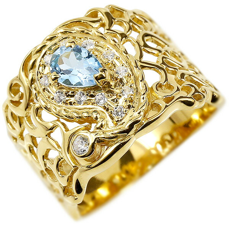 リング イエローゴールドk10 ペイズリー キュービックジルコニア ブルートパーズ 婚約指輪 ピンキーリング 指輪 透かし 幅広 エンゲージリング レディース